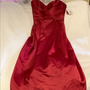 Floor length Apple bridesmaids gown from David's